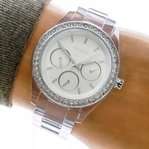 Fossil Womans Watch White, Dial & Clear Case Band